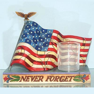 Jim Shore 4013285 Memorial Flag Never Forget Candle Holder