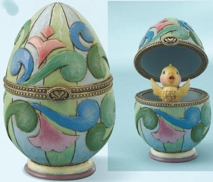 Jim Shore 4013313 Egg Swirls & Chick Hinged Box
