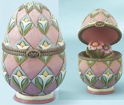 Jim Shore 4013314 Egg Flower pattern Hinged Box