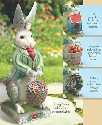 Jim Shore 4013316 Bunny 4 Interchangeable Season Baskets Statue