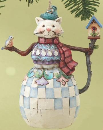 Jim Shore 4014454 Cat Snowman Ornament