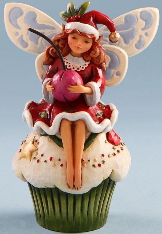 Jim Shore 4019323 Fairy & Christmas Cupcake Figurine