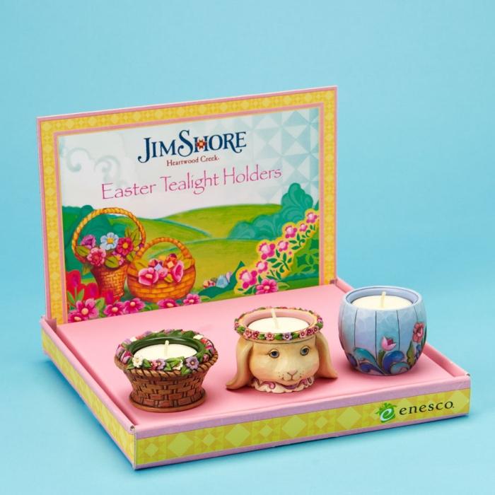 Jim Shore 4020623 Easter Tealight Holders - 3