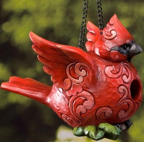 Jim Shore 4022563 Cardinal Birdhouse Birdhouse