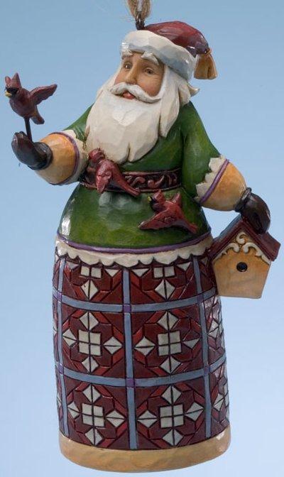 Jim Shore 4025498 Santa Cardinals Birdhouse Hanging Ornament