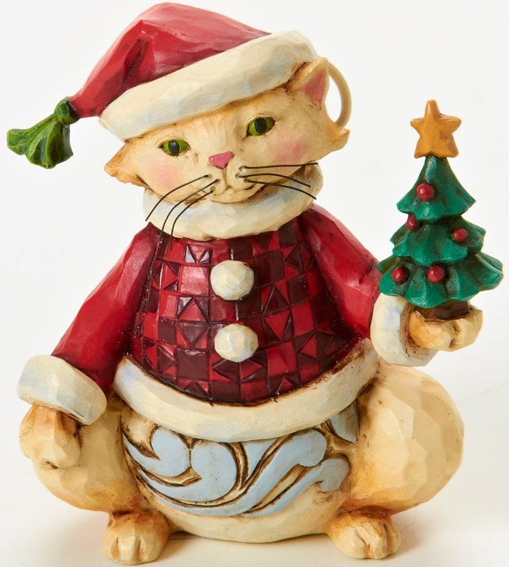 Jim Shore 4025630 Mini Christmas Cat Figurine