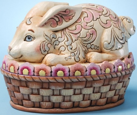 Jim Shore 4025800 Tisket Tasket Bunny in a Basket Figurine
