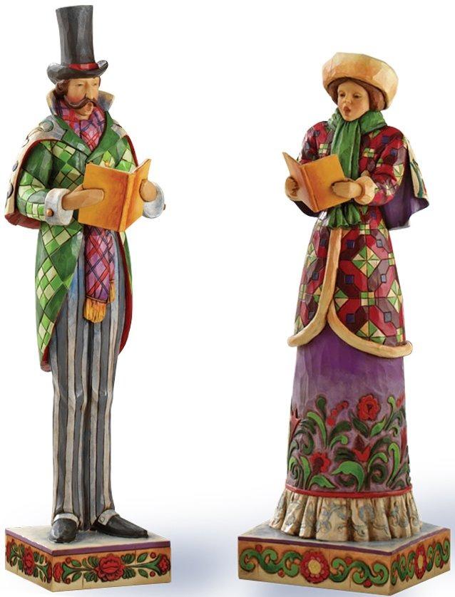 Jim Shore 4026368 Set 2 Man & Woman Caroler Figurines