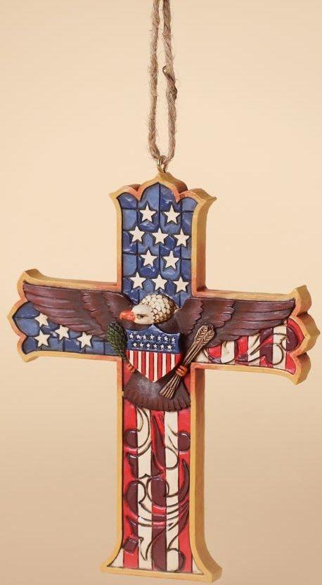 Jim Shore 4027752 Patriotic Cross Ornament