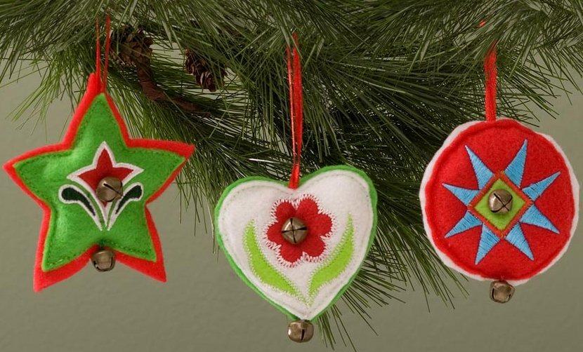 Jim Shore 4027860 Set of 3 Felt Shaped Hanging Ornaments