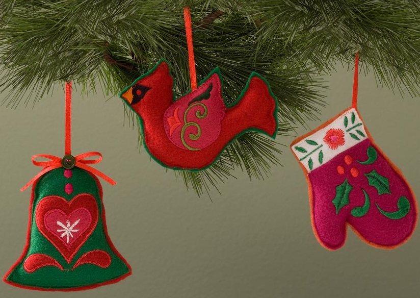 Jim Shore 4027864 Set of 3 Felt Shaped Hanging Ornaments