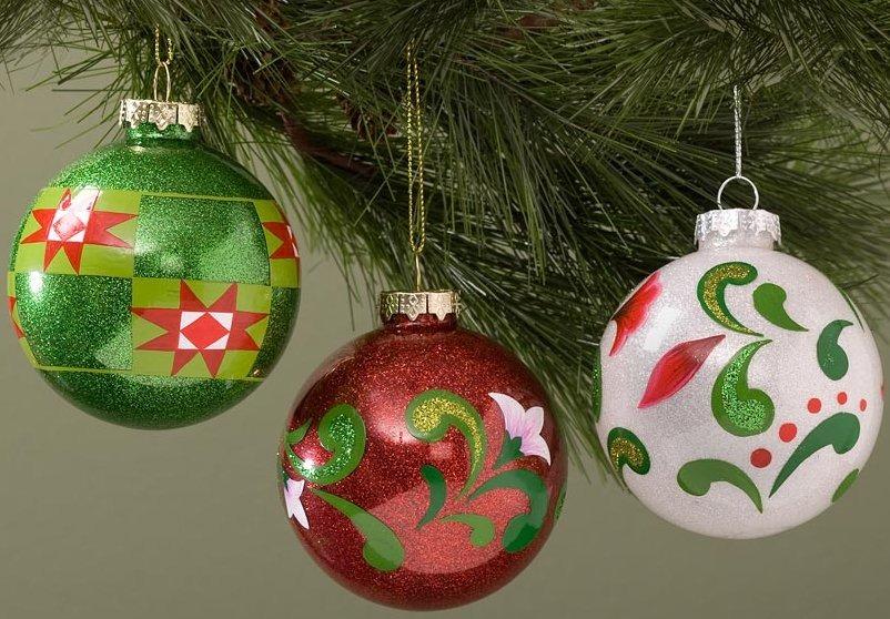 Jim Shore 4029507 Assorted Glass Set of 3 Ornament