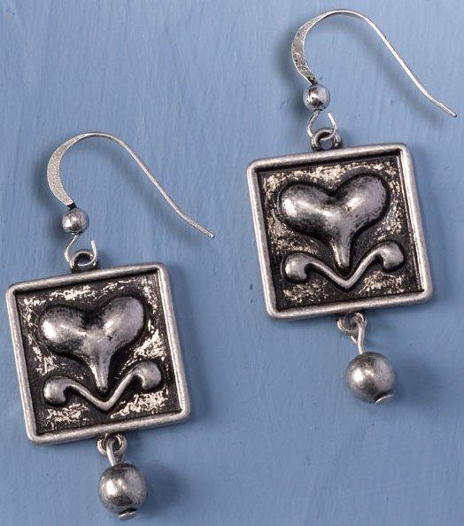 Jim Shore 4032506 Heart in Square Earrings