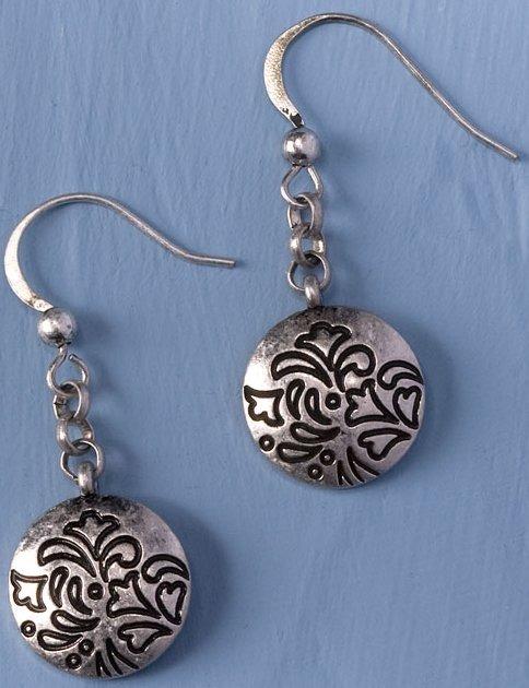 Jim Shore 4032511 Round Rosemal Dangle Earrings