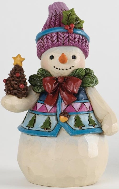 Jim Shore 4034376 Pint Sized Snowman and Pinecone Figurine