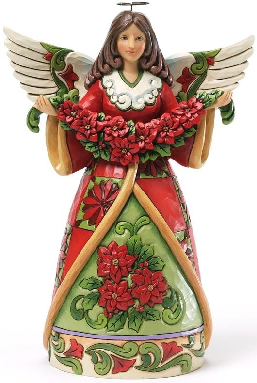 Jim Shore 4034378 Red Green Angel Poinsettia Figurine