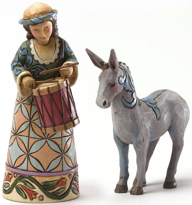 Jim Shore 4034383 Set of 2 Mini Drum Boy & Donkey Figurines