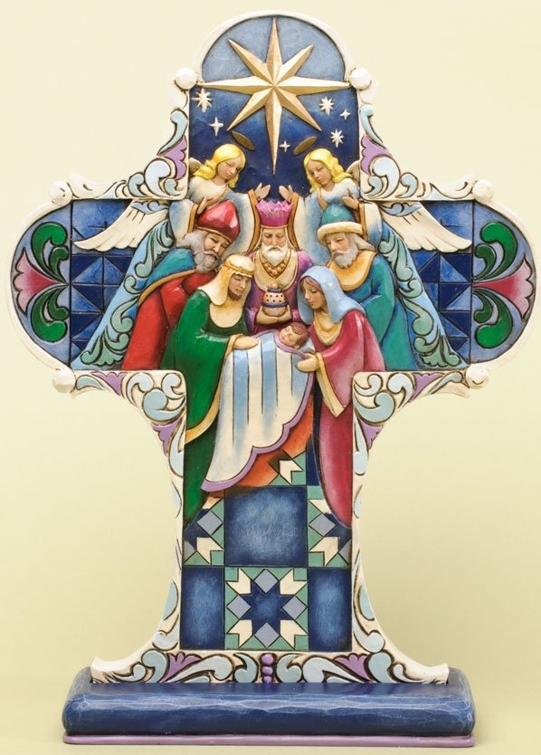 Jim Shore 4034384 Nativity Cross Plaque