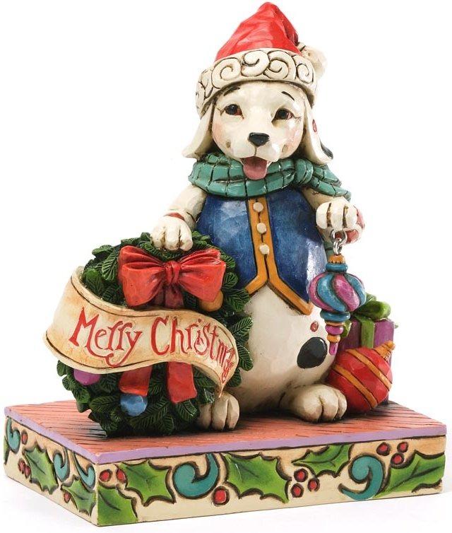 Jim Shore 4034391 Christmas Dog & Wreath Figurine