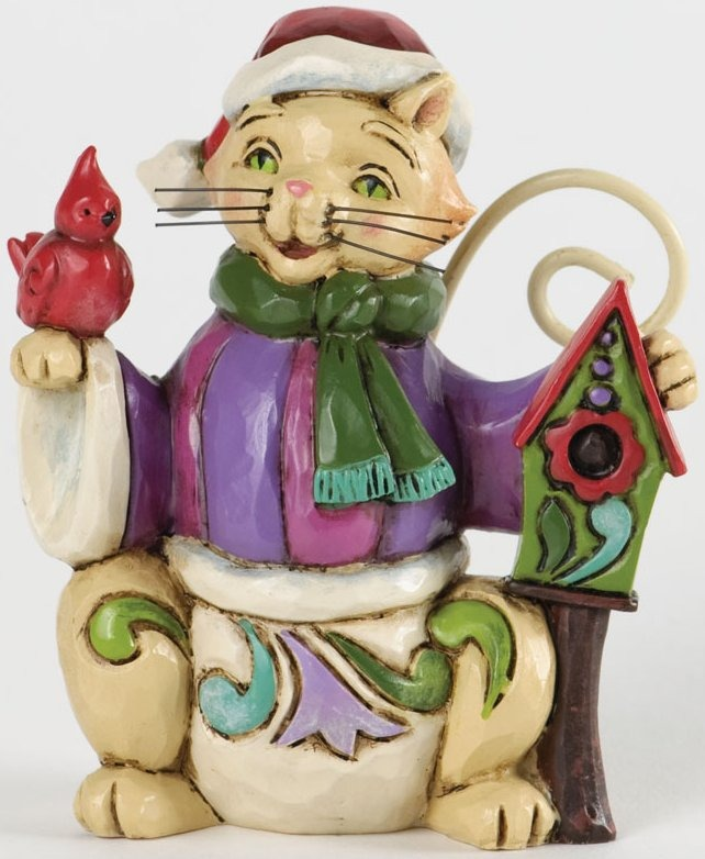 Jim Shore 4034394 Mini Christmas Cat Figurine