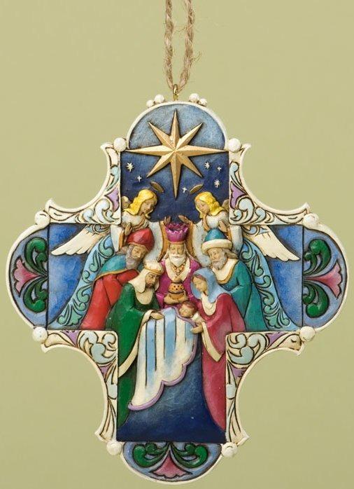 Jim Shore 4034418 Nativity Cross Hanging Ornament