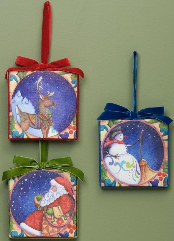 Jim Shore 4034855 3 Assorted Square Hanging Ornaments