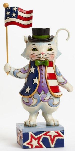 Jim Shore 4036235 Pint Patriotic Cat Figurine