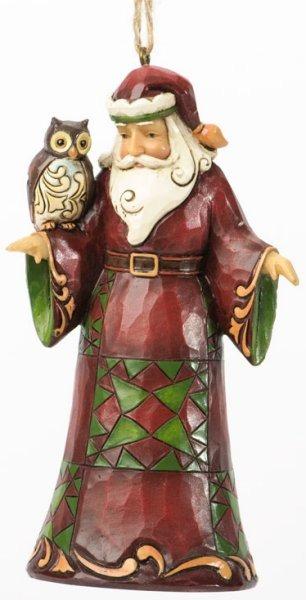 Jim Shore 4036339 Santa w Owl Ornament