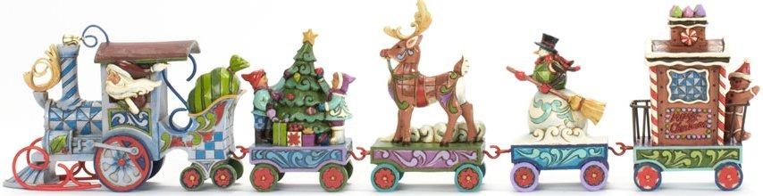 Jim Shore 4036686N Set-5 Mini Holiday Train Figurine