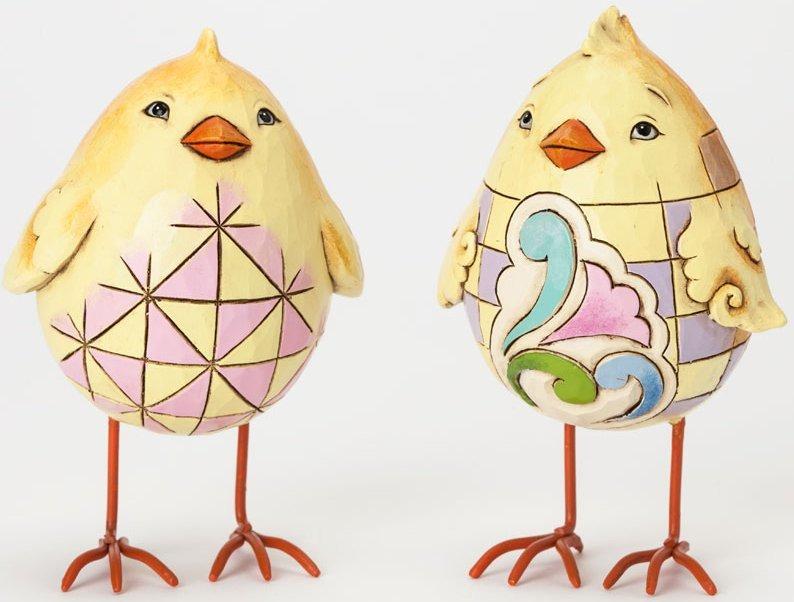 Jim Shore 4037677 2 Assorted Egg Shaped Chicks