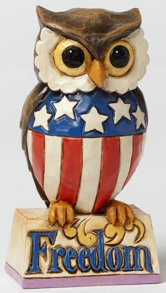 Jim Shore 4040713 Patriotic Owl Mini Figurine