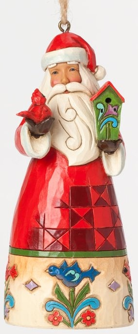 Jim Shore 4041108 Santa and Birdhouse Ornament