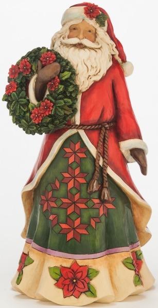 Jim Shore 4046762 Poinsettia Santa Figurine
