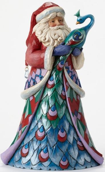 Jim Shore 4047660 Santa w Peacock Figurine
