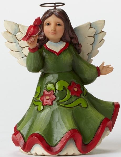 Jim Shore 4047776 Pint Red Green Ange Figurine