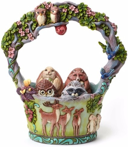 Jim Shore 4048850 Set 5 Woodland Basket Figurine