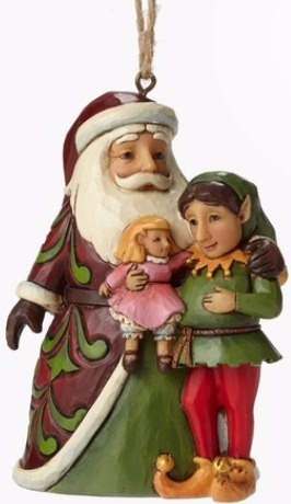 Jim Shore 4049409 Santa w Elf Ornament