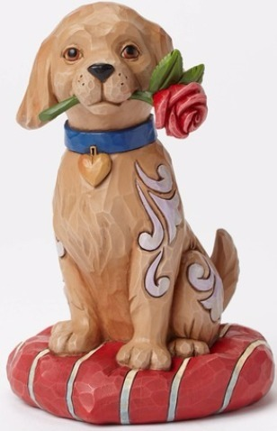 Jim Shore 4051396 Puppy Red Rose Figurine