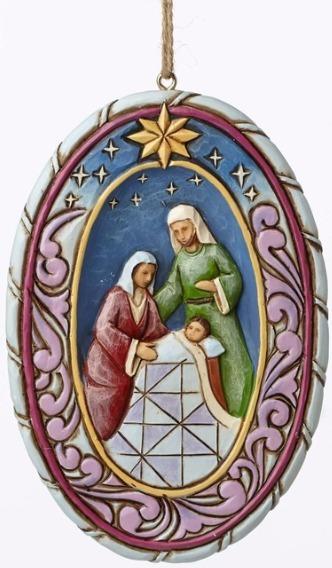 Jim Shore 4051537 Oval Holy Family Sc Ornament