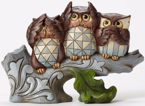 Jim Shore 4052050 Owls Covering Eyes Figurine