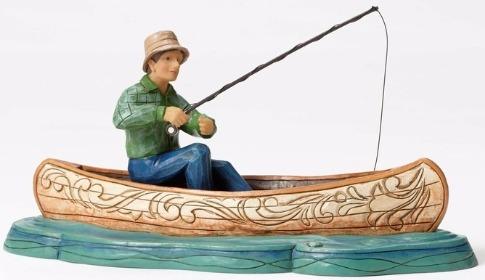 Jim Shore 4052061 Fisherman in Canoe Figurine