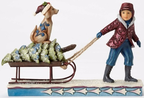 Jim Shore 4053683 Dog & Sled Victorian Child Pulling Figurine