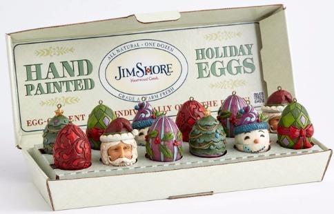 Jim Shore 4053718 6 Assorted Christmas Eg Ornament