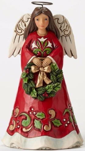 Jim Shore 4053820 Pint Angel w Wreath Figurine