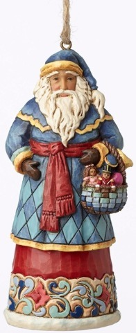 Jim Shore 4053831 Santa Basket Ornament
