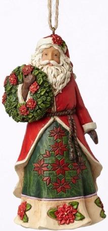 Jim Shore 4053834 Poinsettia Santa Ornament