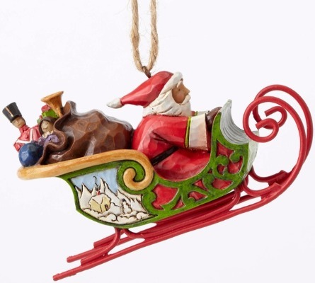Jim Shore 4053836 Santa in Sleigh Ornament