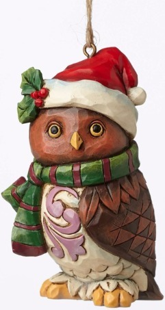 Jim Shore 4053848 Christmas Owl Mini Ornament