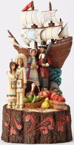 Jim Shore 4053853 Pilgrims w Mayflowe Figurine