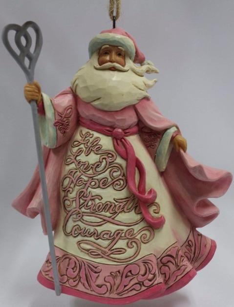 Jim Shore 4055057 Hanging Ornament Santa Breast Cancer